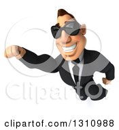 Clipart Of A 3d Macho White Businessman Wearing Sunglasses And Flying Royalty Free Illustration