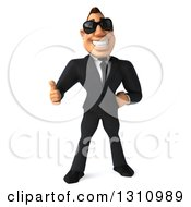 Clipart Of A 3d Macho White Businessman Wearing Sunglasses And Giving A Thumb Up Royalty Free Illustration