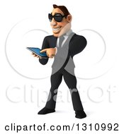 Clipart Of A 3d Macho White Businessman Wearing Sunglasses Facing Slightly Left And Using A Smart Phone Or Tablet Royalty Free Illustration