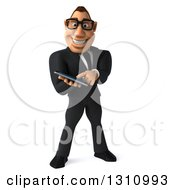 Clipart Of A 3d Bespectacled Macho White Businessman Using A Smart Phone Or Tablet Royalty Free Illustration