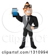 Clipart Of A 3d Bespectacled Macho White Businessman Holding Out A Smart Phone Royalty Free Illustration