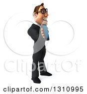 Clipart Of A 3d Bespectacled Macho White Businessman Facing Right And Holding A Smart Phone Royalty Free Illustration