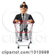 Clipart Of A 3d Macho White Businessman Wearing Sunglasses With A Shopping Cart Royalty Free Illustration