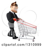 Clipart Of A 3d Bespectacled Macho White Businessman Facing Right And Pushing An Empty Shopping Cart Royalty Free Illustration