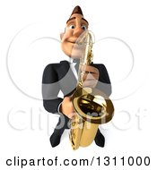 Clipart Of A 3d Macho White Businessman Looking Up And Playing A Saxophone Royalty Free Illustration