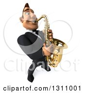Clipart Of A 3d Macho White Businessman Looking Up Facing Slightly Right And Playing A Saxophone Royalty Free Illustration
