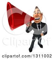 Clipart Of A 3d Macho White Businessman Announcing Upwards With A Megaphone Royalty Free Illustration