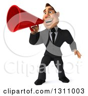 Clipart Of A 3d Macho White Businessman Announcing With A Megaphone Royalty Free Illustration