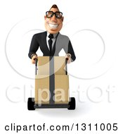 Clipart Of A 3d Bespectacled Macho White Businessman Moving Boxes On A Dolly Royalty Free Illustration