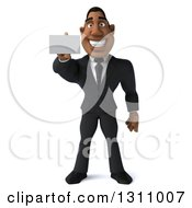 Clipart Of A 3d Handsome Black Businessman Holding Out A Business Card Royalty Free Illustration