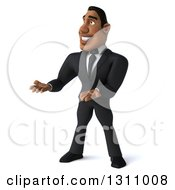 Clipart Of A 3d Handsome Black Businessman Presenting To The Left Royalty Free Illustration by Julos