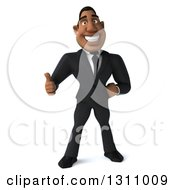 Clipart Of A 3d Handsome Black Businessman Giving A Thumb Up Royalty Free Illustration by Julos