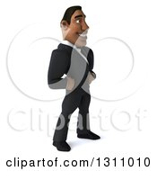 Clipart Of A 3d Handsome Black Businessman Facing Right With Hands On His Hips Royalty Free Illustration by Julos