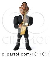 Clipart Of A 3d Handsome Black Businessman Playing A Saxophone Royalty Free Illustration by Julos