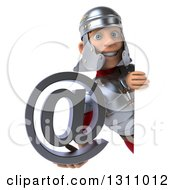 Clipart Of A 3d Young Male Roman Legionary Soldier Holding An Email Arobase At Symbol Around A Sign Royalty Free Illustration