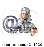 Clipart Of A 3d Young Male Roman Legionary Soldier Holding An Email Arobase At Symbol Over A Sign Royalty Free Illustration