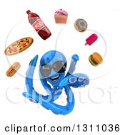 Clipart Of A 3d Blue Octopus Wearing Sunglasses And Juggling Junk Food Royalty Free Illustration by Julos