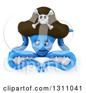 Clipart Of A 3d Happy Blue Pirate Octopus Looking Down Over A Sign Royalty Free Illustration by Julos