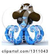 Clipart Of A 3d Happy Blue Pirate Octopus Wearing Sunglasses Royalty Free Illustration by Julos