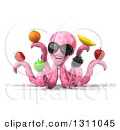 Clipart Of A 3d Pink Octopus Wearing Sunglasses And Holding Fruit Royalty Free Illustration