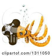 Clipart Of A 3d Happy Orange Pirate Octopus Swimming Royalty Free Illustration