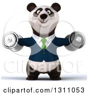 Clipart Of A 3d Happy Business Panda Working Out Doing Lateral Raises With Dumbbells Royalty Free Illustration