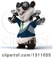 Clipart Of A 3d Happy Business Panda Facing Right Working Out Doing Shoulder Presses With Dumbbells Royalty Free Illustration