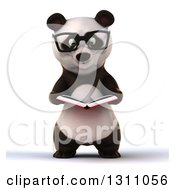 Clipart Of A 3d Bespectacled Business Panda Reading A Book Royalty Free Illustration