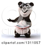 Clipart Of A 3d Bespectacled Business Panda Presenting And Reading A Book Royalty Free Illustration