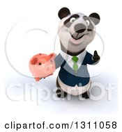 Clipart Of A 3d Happy Business Panda Holding Up A Thumb And A Piggy Bank Royalty Free Illustration