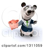 Clipart Of A 3d Happy Business Panda Holding Up A Thumb Down And A Piggy Bank Royalty Free Illustration