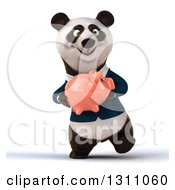 Clipart Of A 3d Happy Business Panda Walking And Holding A Piggy Bank Royalty Free Illustration