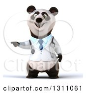 Clipart Of A 3d Doctor Or Veterinarian Panda Pointing To The Left Royalty Free Illustration by Julos