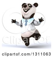 Clipart Of A 3d Doctor Or Veterinarian Panda Jumping Royalty Free Illustration by Julos