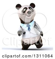 Clipart Of A 3d Doctor Or Veterinarian Panda Walking Royalty Free Illustration by Julos