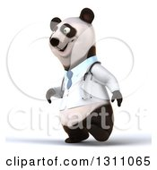 Clipart Of A 3d Doctor Or Veterinarian Panda Walking To The Left Royalty Free Illustration by Julos
