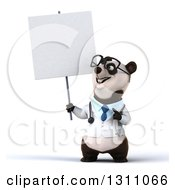 Clipart Of A 3d Bespectacled Doctor Or Veterinarian Panda Holding And Pointing To A Blank Sign Royalty Free Illustration by Julos