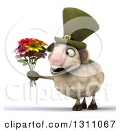 Clipart Of A 3d Irish Sheep Holding A Boquet Of Flowers Royalty Free Illustration