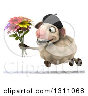 Clipart Of A 3d French Sheep Funning And Holding A Bouquet Of Flowers Royalty Free Illustration