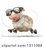 Clipart Of A 3d Bespectacled Sheep Smiling And Running To The Left Royalty Free Illustration