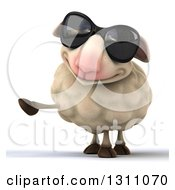 Clipart Of A 3d Sheep Wearing Sunglasses And Pointing To The Left Royalty Free Illustration