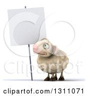 Clipart Of A 3d Sheep Looking Up At A Blank Sign Royalty Free Illustration