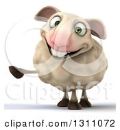 Clipart Of A 3d Sheep Smiing And Pointing To The Left Royalty Free Illustration