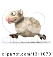 Clipart Of A 3d Sheep Running To The Left Royalty Free Illustration