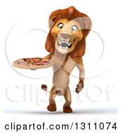 Clipart Of A 3d Male Lion Walking And Holding A Pizza Royalty Free Illustration