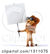 Clipart Of A 3d Male Lion Wearing Sunglasses Holding And Pointing To A Blank Sign Royalty Free Illustration