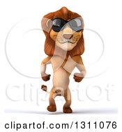Clipart Of A 3d Male Lion Walking And Wearing Sunglasses Royalty Free Illustration