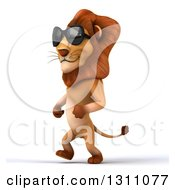 Clipart Of A 3d Male Lion Walking To The Left And Wearing Sunglasses Royalty Free Illustration