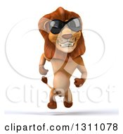 Clipart Of A 3d Male Lion Running And Wearing Sunglasses Royalty Free Illustration