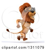 Clipart Of A 3d Male Lion Running To The Right And Wearing Sunglasses Royalty Free Illustration